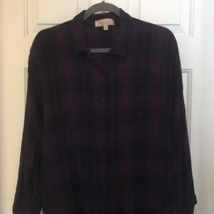 High/Low 3/4 Sleeve Plaid Top